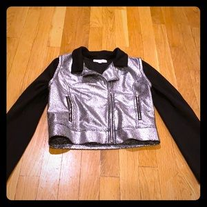 Girls metallic Moto jacket